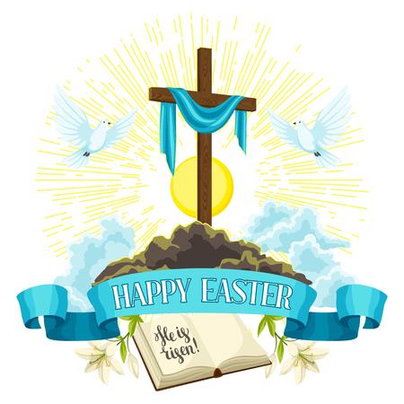 Croix en bois avec linceul, bible et colombes. Illustration de concept Joyeuses Pâques ou carte de voeux. Symboles religieux de la foi.