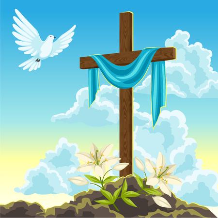 Silhouette de croix en bois avec linceul, colombe et lis. Illustration de concept Joyeuses Pâques ou carte de voeux. Symboles religieux de la foi contre le ciel du lever du soleil.