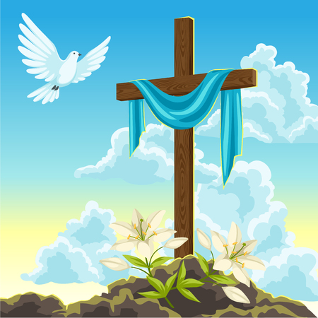 Silhouette of wooden cross with shroud, dove and lilies. Happy Easter concept illustration or greeting card. Religious symbols of faith against sunrise sky.