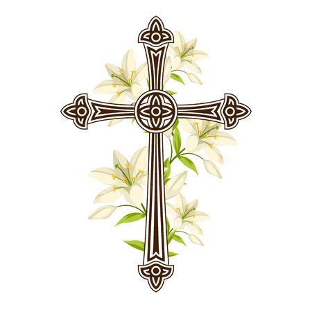 Silhueta da cruz ornamentado com lírios. Ilustração ou cartão feliz do conceito da Páscoa Símbolos religiosos da fé.