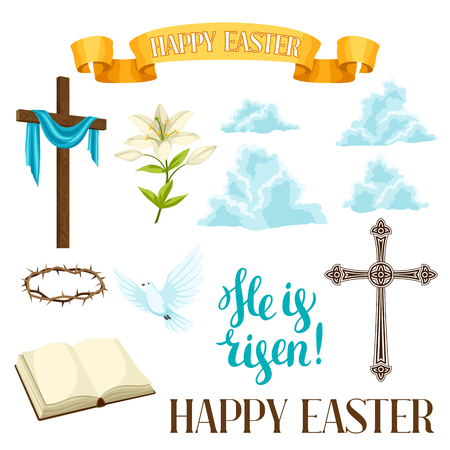 Happy Easter set of decorative objects. Religious symbols of faith.
