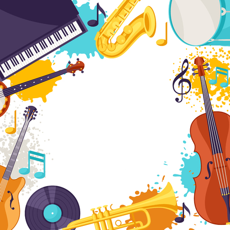 Frame with musical instruments. Jazz music festival background.
