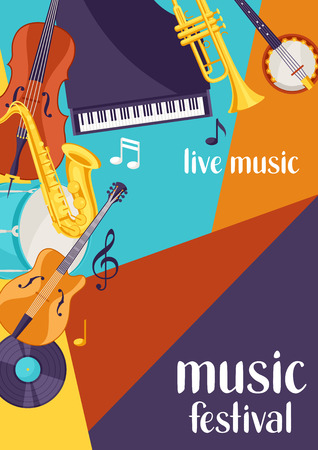 Jazz festival live music retro poster with musical instruments.