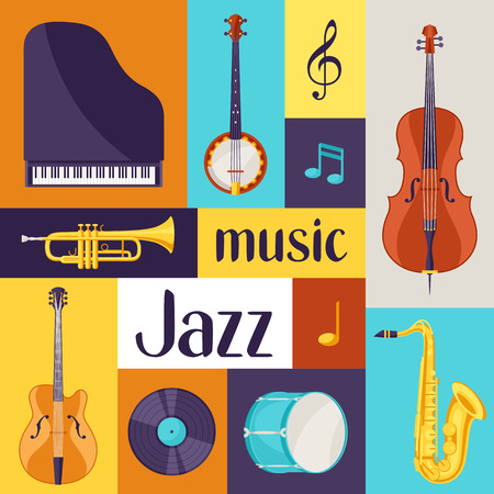 Jazz music retro poster with musical instruments.