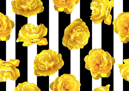 Seamless pattern with fluffy yellow tulips. Beautiful realistic flowers and buds. Ilustração