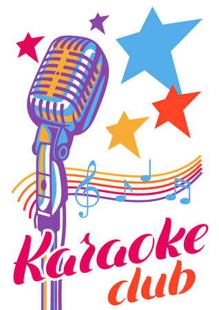 Karaoke club poster. Music event banner. Illustration with microphone in retro style.