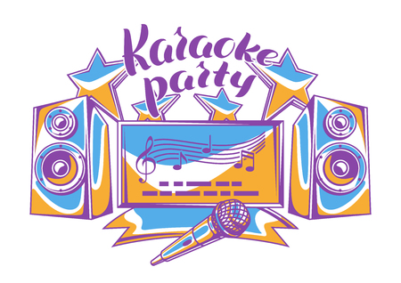 Karaoke party design. Music event background. Illustration in retro style.