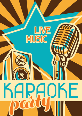 Karaoke party poster. Music event banner. Illustration with microphone and acoustics in retro style.