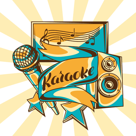 Karaoke party design. Music event background. Illustration with microphone and acoustics in retro style.