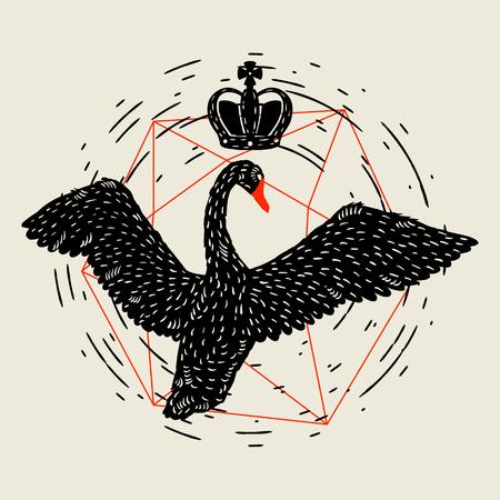 Background with flying black swan. Hand drawn bird.