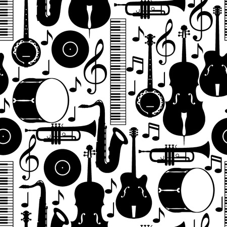 Jazz music seamless pattern with musical instruments. Stock Illustratie