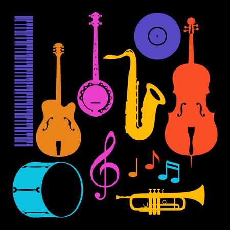 Set of musical instruments. Illustration