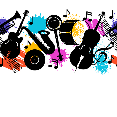 Jazz music seamless pattern with musical instruments. Illustration