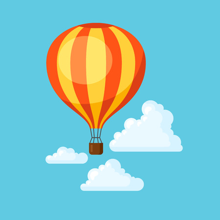 Travel illustration. Traveling background with hot air balloon and clouds. Illustration
