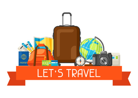 Travel concept illustration. Traveling background with tourist items.