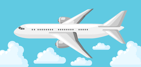 Illustration of airplane on blue sky and clouds. Illustration