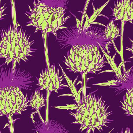 Nahtloses Muster mit Onopordum acanthium. Schottische Distel. Vektorgrafik