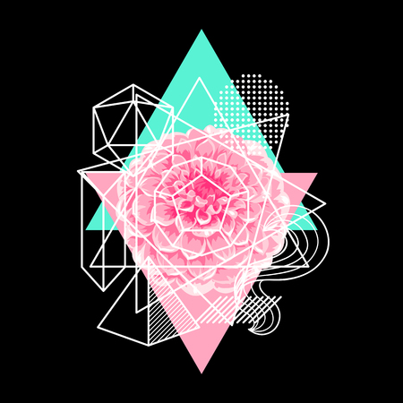 Background with abstract geometric shapes and flower.