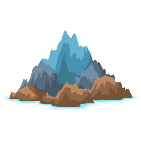 Illustration of rocky island in ocean.