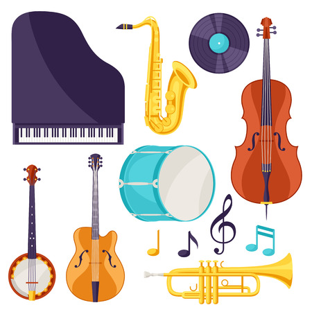 Set of colored musical instruments.