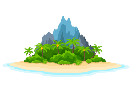 Illustration of tropical island in ocean.