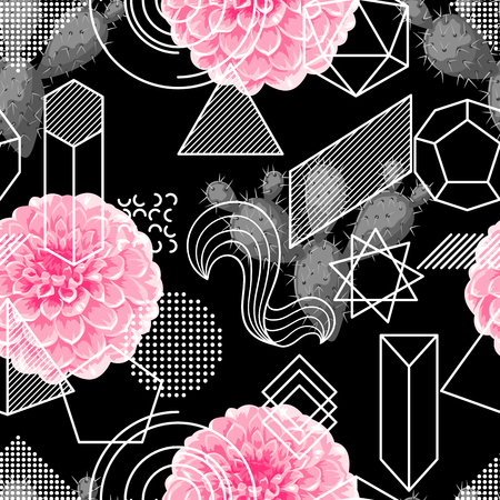 Seamless pattern with abstract geometric shapes, flowers and cactuses.