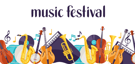 Jazz music festival banner with musical instruments. Vetores