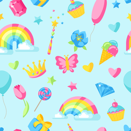 Seamless pattern with fantasy and birthday party items.
