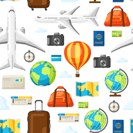 Travel seamless pattern. Traveling background with tourist items. Illustration