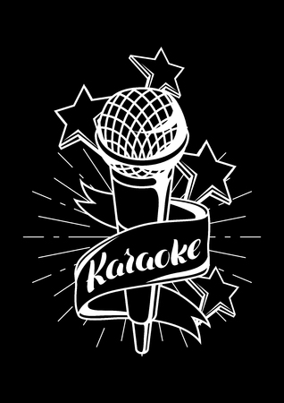Karaoke party label. Music event background. Illustration with microphone in retro style. Illustration