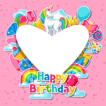 Happy birthday  Card with unicorn and fantasy items. Vector illustration.