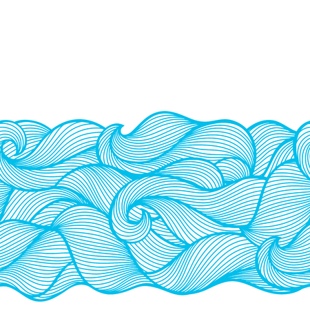 Wavy curled seamless pattern. Abstract outline blue texture. Illustration