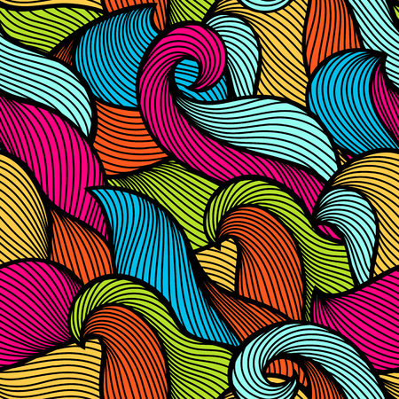 Wavy curled seamless pattern. Abstract outline colorful texture. Vector illustration. Vectores