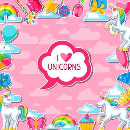 I love unicorns  Card with unicorn and fantasy items. Vector illustration.