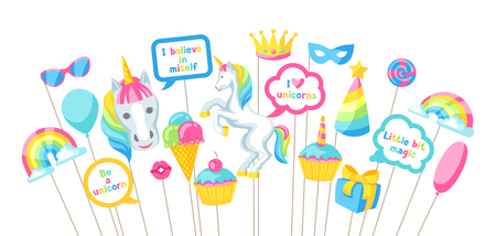 Happy birthday photo booth props. Fantasy items and objects for festival and party. Vector illustration.