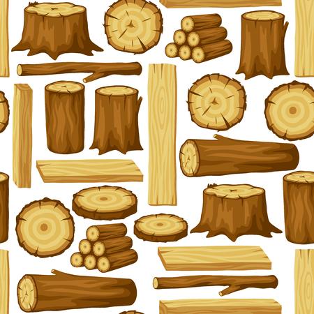 Modèle sans couture avec bûches, troncs et planches de bois. Contexte de l'industrie forestière et du bois d'oeuvre.
