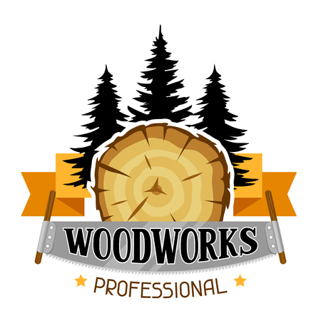 Woodworks label with wood stump and saw. Emblem for forestry and lumber industry.