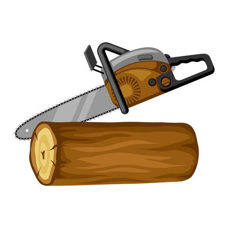Benzinsäge und Holzscheit. Illustration für die Forst- und Holzwirtschaft. Vektor-illustration Vektorgrafik