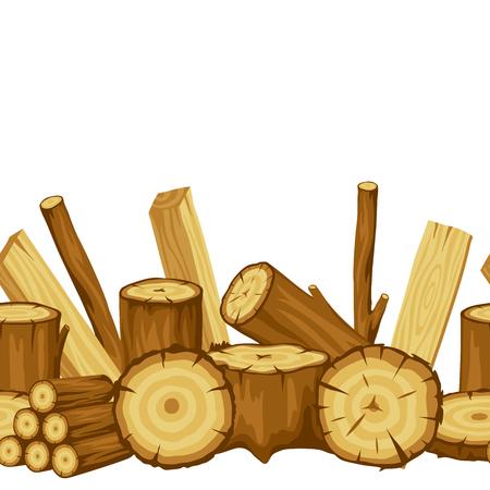 Modèle sans couture avec bûches, troncs et planches de bois. Contexte de l'industrie forestière et du bois d'oeuvre. Vecteurs