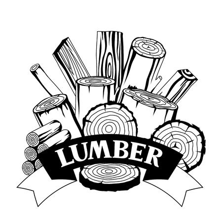 Tło z bali drewna, pni i desek. Projektowanie dla leśnictwa i przemysłu drzewnego. Ilustracje wektorowe