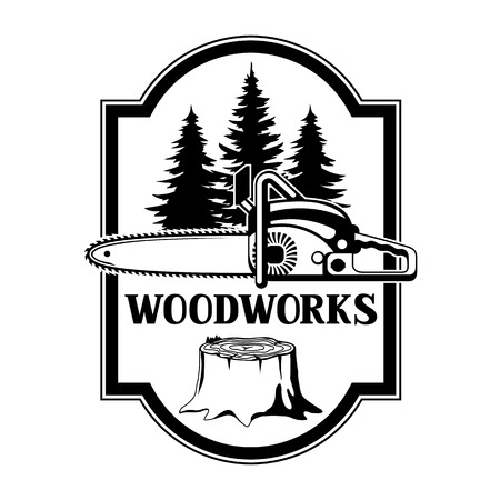 Woodwork label with wood stump and saw. Emblem for forestry and lumber industry. 일러스트