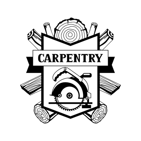 Carpentry label with wood logs and saw. Emblem for forestry and lumber industry.