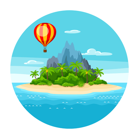 Illustration of tropical island in ocean. Landscape with hot air balloon, palm trees and rocks. Travel background.