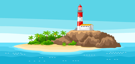 Illustration of ocean lighthouse on rocky coast landscape. Ilustrace