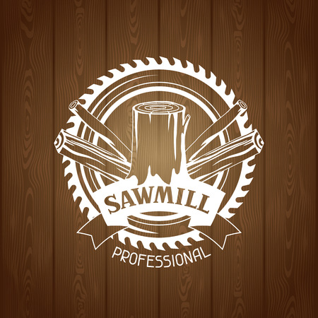 Woodwork label with wood logs and saw. Emblem for forestry and lumber industry.