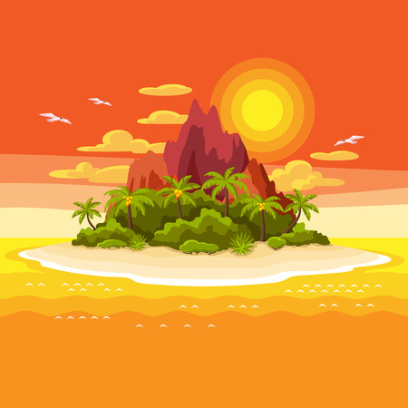 Illustration of tropical island in ocean. Landscape with ocean, palm trees and rocks. Travel background.