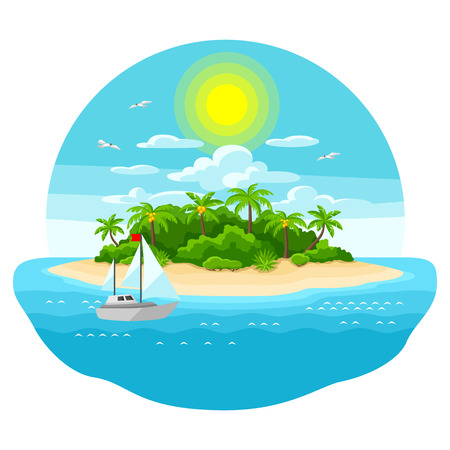 Illustration of tropical island in ocean. Landscape with ocean, palm trees and yacht. Travel background. Illustration