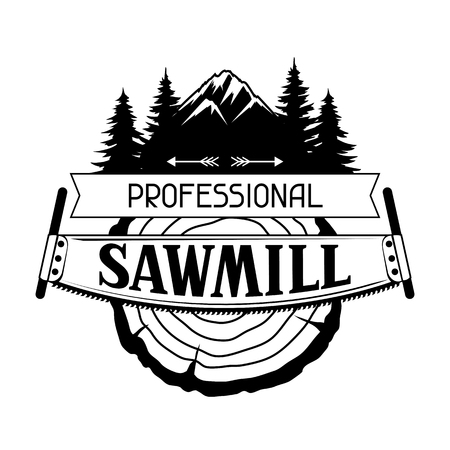 Professional sawmill label with wood stump and saw, emblem for forestry and lumber industry.