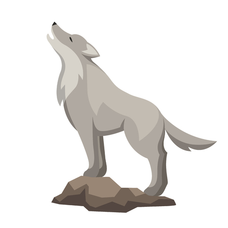 Stylized illustration of wolf on white background. Ilustração
