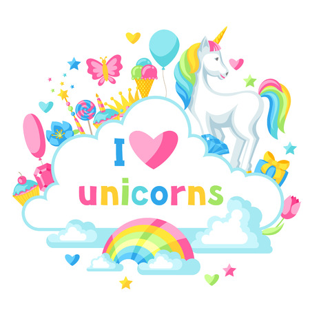 Unicorn and fantasy items with I love unicorns text in a cloud.